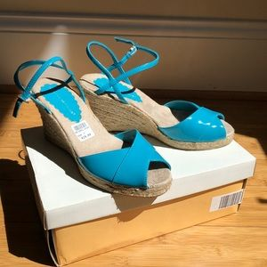 sz 7 turquoise wedge sandals NEW